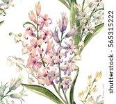 watercolor spring floral... | Shutterstock . vector #565315222