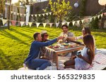 group of friends enjoying... | Shutterstock . vector #565329835