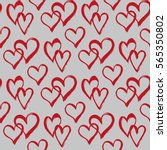 seamless pattern with hearts.... | Shutterstock .eps vector #565350802
