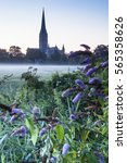 salisbury cathedral on a misty...