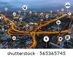 smart city things icons mesh on ... | Shutterstock . vector #565365745