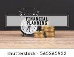 alarm clock and money coin... | Shutterstock . vector #565365922