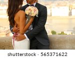groom and bride embracing  in... | Shutterstock . vector #565371622