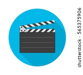 movie clapper board icon with... | Shutterstock .eps vector #565375906