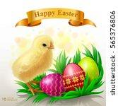 easter background. little chick ...   Shutterstock .eps vector #565376806