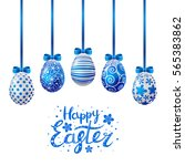 blue easter eggs for your design | Shutterstock .eps vector #565383862