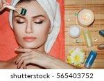 beautiful girl woman in spa... | Shutterstock . vector #565403752