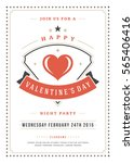 happy valentines day party... | Shutterstock .eps vector #565406416