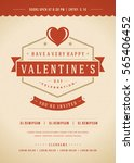 happy valentines day party... | Shutterstock .eps vector #565406452
