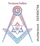 freemason square and compass.... | Shutterstock .eps vector #565406746