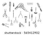 hand drawn beauty  hairdressers ...   Shutterstock .eps vector #565412902