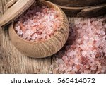 pink salt from the himalayas on ... | Shutterstock . vector #565414072