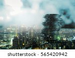 double exposure of city and... | Shutterstock . vector #565420942