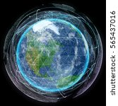 network and data exchange over... | Shutterstock . vector #565437016