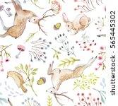 watercolor pattern deer and... | Shutterstock . vector #565445302