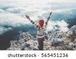 happy woman traveler on... | Shutterstock . vector #565451236