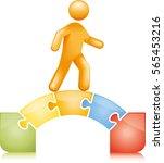 bridging the gap jigsaw | Shutterstock .eps vector #565453216