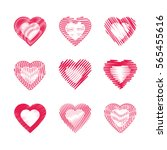 set of abstract stylized heart  ... | Shutterstock .eps vector #565455616