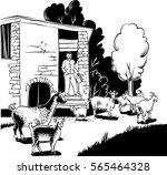 shepherd holding a bucket of... | Shutterstock .eps vector #565464328