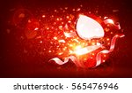 magic open gift with hearts on... | Shutterstock .eps vector #565476946