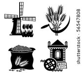 set of images of grain processing. Vector stereotyped icons