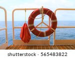 life buoy hanging on the... | Shutterstock . vector #565483822