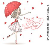 beautiful  cute  romantic girl... | Shutterstock .eps vector #565488676
