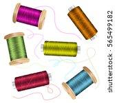 thread spool set background.... | Shutterstock .eps vector #565499182