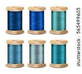 thread spool set. bright old... | Shutterstock .eps vector #565499605