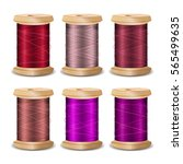 thread spool set. bright old... | Shutterstock .eps vector #565499635