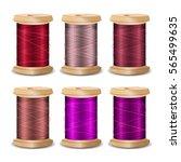 thread spool set. bright old... | Shutterstock .eps vector #565499635