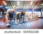 fit people working out in... | Shutterstock . vector #565502338