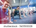 fit people working out in... | Shutterstock . vector #565503328