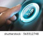 hand pressing a 2018 start... | Shutterstock . vector #565512748