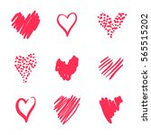 set hearts drawn by hand in a... | Shutterstock .eps vector #565515202