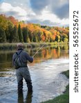 a man casts his fly rod into a... | Shutterstock . vector #565525672