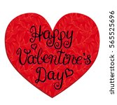 happy valentines day card with... | Shutterstock . vector #565525696