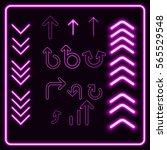 set of violet  neon pointers.... | Shutterstock .eps vector #565529548