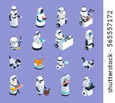home robots collection helping... | Shutterstock .eps vector #565557172