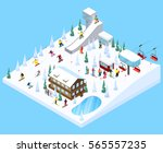mountain resort village... | Shutterstock .eps vector #565557235