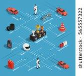 car race isometric flowchart... | Shutterstock .eps vector #565557322