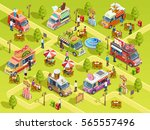 street food trucks selling bbq... | Shutterstock .eps vector #565557496