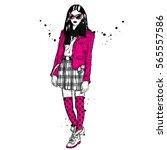 fashionably dressed girl.... | Shutterstock .eps vector #565557586