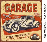 vintage garage  poster with... | Shutterstock .eps vector #565558582