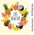 eat healthy   motivational... | Shutterstock .eps vector #565566166