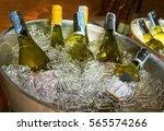 Bottles Of White Wine On Ice...