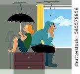 family sitting on a dresser in... | Shutterstock .eps vector #565578856