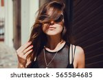 emotional portrait of fashion... | Shutterstock . vector #565584685
