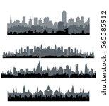 black cityscape silhouette... | Shutterstock .eps vector #565585912