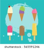 set of different ice cream... | Shutterstock .eps vector #565591246